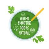 Grüne Smoothieglasplatteansicht Lizenzfreie Stockbilder
