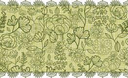 Grüne Spitze blüht horizontales nahtloses Muster Stockfoto