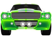 Grüne Sportwagenfrontseite getrennt auf Weiß Stockfotografie