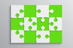 Grüne Stück-Puzzlespiel-Fahne Schritt 12 Hintergrund Stockfotos