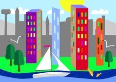 Grüne Stadt auf dem Ozean Lizenzfreies Stockfoto