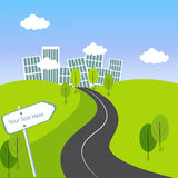 Grüne Stadt-Landschaft mit Straße Stockbilder