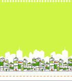 Grüne Stadt-Skyline-Abbildung Stockfotografie