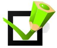 Grüne Stiftmarkierung auf dem Auswahlkästchen Stockbilder