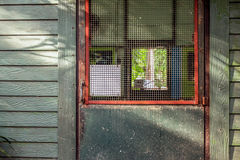Grüne Tür der Weinlese und schmutzig Lizenzfreie Stockfotos
