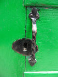 Grüne Tür mit Türknauf Stockfotos