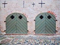 2 grüne Türen Stockbilder