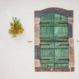 Grüne Türen mit Blumen im Topf auf einer weißen Wand Stockfotos