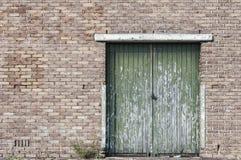 Grüne Türgestalt in eine alte Backsteinmauer Lizenzfreie Stockfotos