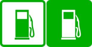 Grüne Tankstelleikonen lizenzfreie abbildung