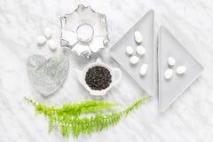 Grüne Teeblätter, weiße Schokolade und Hauptdekoranreden Lizenzfreie Stockfotografie