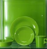 Grüne Teller Stockfoto