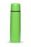 Grüne Thermosflaschesammlung lokalisiert auf weißem Hintergrund Lizenzfreie Stockfotos