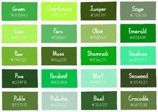 Grüne Tone Color Shade Background mit Code und Namen lizenzfreie abbildung