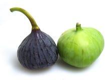 Grüne u. purpurrote Feigen Lizenzfreie Stockbilder
