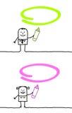 Grüne u. rosafarbene Markierung stock abbildung