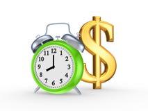 Grüne Uhr und Zeichen des Dollars. Stockfotos