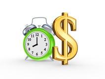 Grüne Uhr und Zeichen des Dollars. Stockbilder