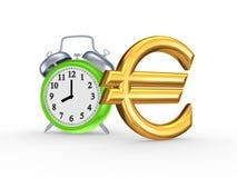 Grüne Uhr und Zeichen des Euros. stockfotos