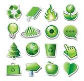 Grüne Umweltikonen Stockbild