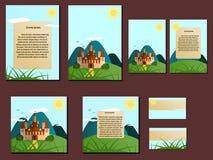 Grüne und blaue bunte Broschüren, Visitenkarten mit Schloss entwerfen stock abbildung