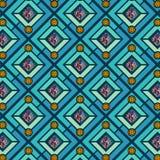 Grüne und blaue Diamanten, die Muster mit dekorativen Kreisen wiederholen vektor abbildung