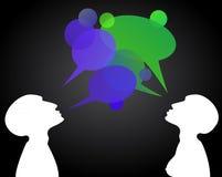 Grüne und blaue Gesprächskästen Stockfoto