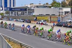 Grüne und blaue Gruppe Radfahrer Lizenzfreie Stockfotografie