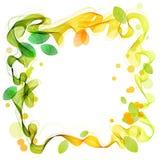 Grüne und gelbe abstrakte Welle mit Blatt Stockfoto