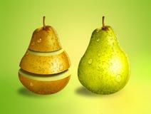 Grüne und gelbe Birnen Stockfotografie