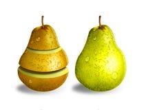 Grüne und gelbe Birnen Lizenzfreie Stockfotografie