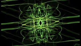 Grüne und gelbe Fractalmuster in der Rotation, abstrakte Gesamtlänge auf schwarzem Bereich, nahtloses Video vektor abbildung