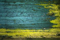 Grüne und gelbe gemalte Wand der Weinlese Stockfotos