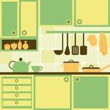 Grüne und gelbe Küche Stockbilder