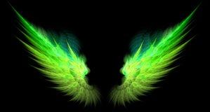 Grüne und gelbe scharfe Flügel Stockfotos