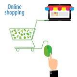 Grüne und grüne Maus im Warenkorb-Symbol, kaufend in der flachen Ikone, Vektor, Illustration Stockfotos