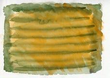 Grüne und orange horizontale Militärgezeichneter Hintergrund der Aquarellsteigung Hand Stockbilder