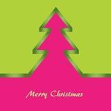 Grüne und rosafarbene Weihnachtskarte Stockbilder