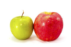 Grüner und roter Apfel Lizenzfreie Stockfotografie