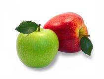 Grüne und rote Äpfel mit Blättern Stockfoto