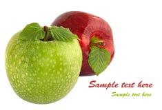 Grüne und rote Äpfel mit Blättern Stockfotos