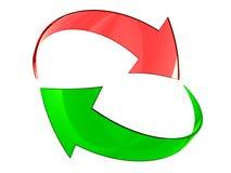 Grüne und rote Pfeile Stockfotos