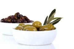 Grüne und schwarze Oliven Lizenzfreie Stockbilder