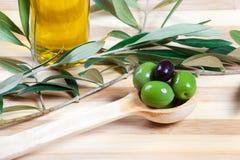 Grüne und schwarze Oliven Lizenzfreies Stockbild