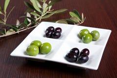 Grüne und schwarze Oliven Lizenzfreies Stockfoto