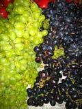 Grüne und schwarze Trauben stockbild