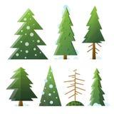 Grüne und tote Tannenbäume der unterschiedlichen Karikatur der Sammlung Lizenzfreie Stockfotos