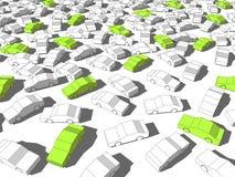 Grüne und weiße Autos Stockfoto