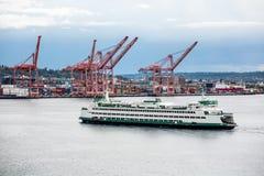 Grüne und weiße Fähre durch Seattle-Fracht stockfotografie