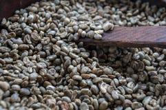 Grüne ungebratene Kaffeebohnen lizenzfreie stockfotografie